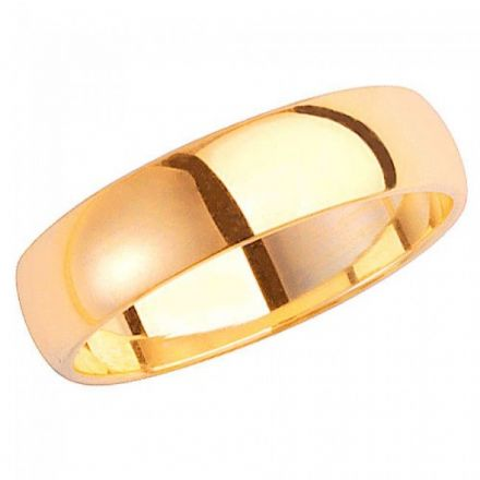 Yellow GOLD WEDDING RING 9K D SHAPE 5 MM, W105H